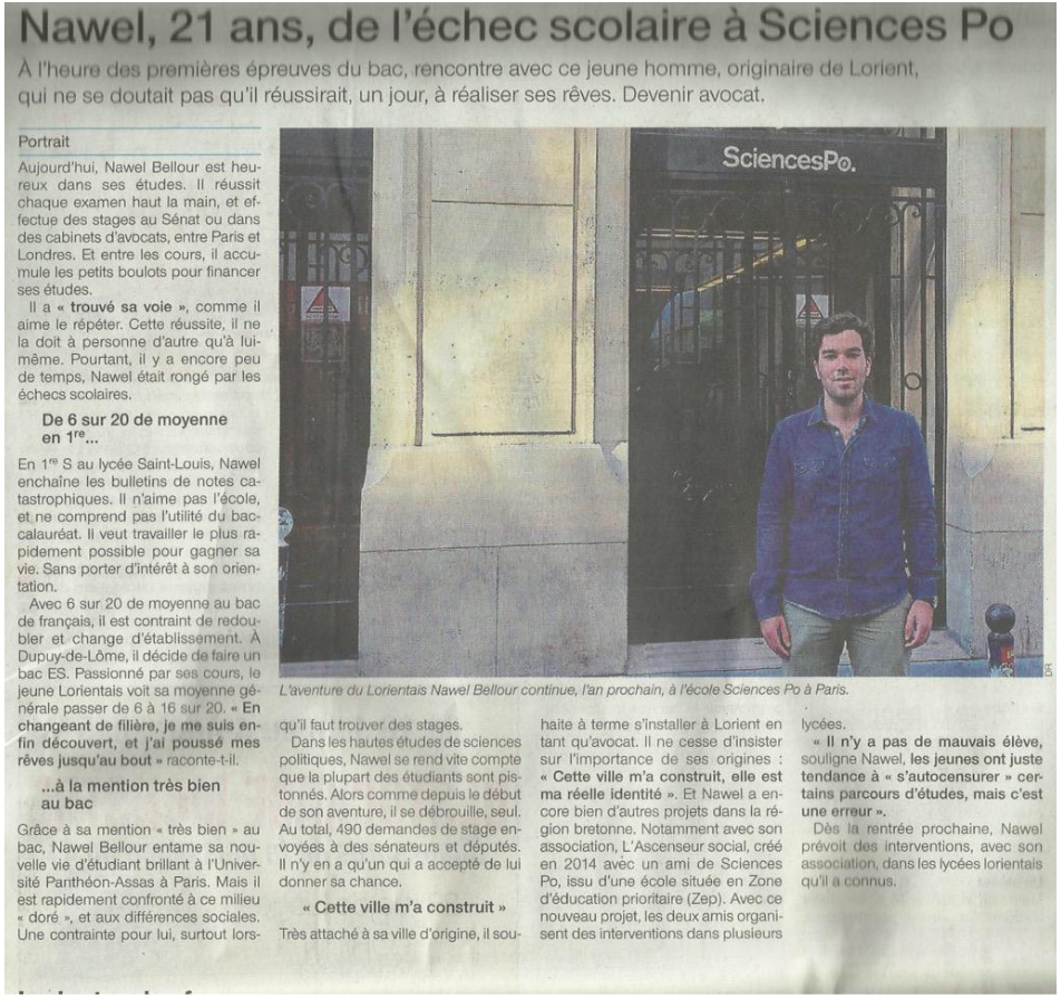 nawel ascenseur social ouest france