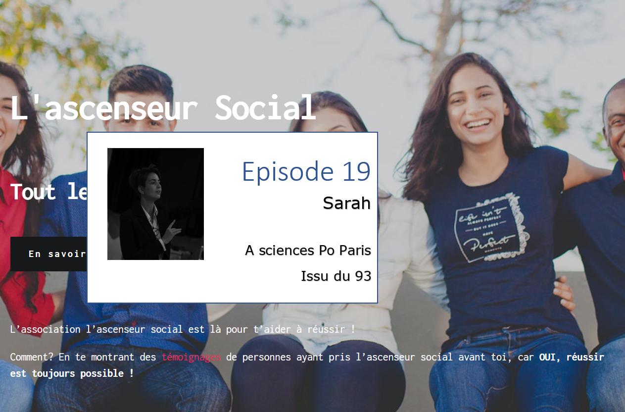 sarah bandeau podcast ascenseur social